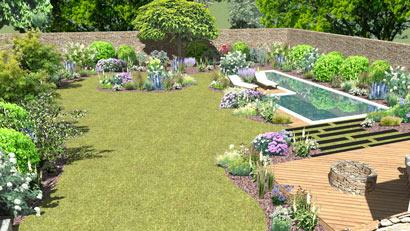Aménagement paysager avec Couloir de nage, terrasse en Chataîgner et création de massifs à Treguennec