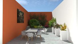 Jardinière sur toit terrasse au centre ville à Quimper